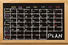 Plan for week on blackboard. Plan for week and month on blackboard. Business or education concept royalty free stock images