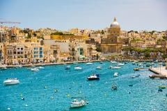 Plan wiev on the bay near Valletta. Many little yachts and boats from plan wiev to the bay near Valletta in Malta Stock Photo