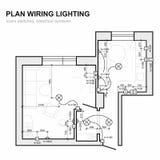 Plan wiring lighting. Electrical Schematic interior. vector illustration