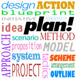 Plan Word Background Idea Strategy Method Scheme. The word Plan and related terms in a background of text such as blueprint, design, action, initiative, strategy Royalty Free Stock Photography