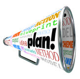 Plan Word Bullhorn Megaphone Spreading Strategy Idea. A bullhorn or megaphone with the words plan, strategy, idea, action, blueprint, scheme, scenario Royalty Free Stock Photography