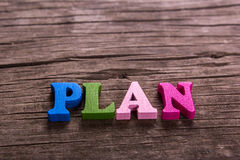 Plan word made of wooden letters Royalty Free Stock Photos