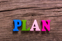 Plan word made of wooden letters Royalty Free Stock Photography