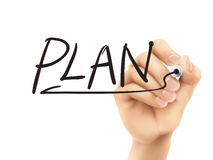 Plan word written by 3d hand Royalty Free Stock Photo
