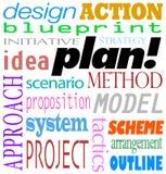 Plan-Wort-Hintergrund-Ideen-Strategie-Methoden-Entwurf Lizenzfreie Stockfotografie