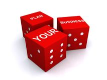 Plan your business. Words PLAN YOUR BUSINESS on three separate 3D red and white dice, isolated on a white background Royalty Free Stock Photography