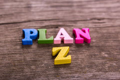Plan Z word made of wooden letters Stock Image