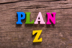 Plan Z word made of wooden letters Stock Photos
