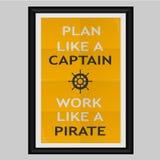 Plan zoals een Kapitein Work Like een Piraat Stock Foto