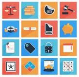 Plana affärs- och kontorssymboler med lång skugga,  Arkivfoton