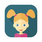 Plana avatars av barn - flicka Fotografering för Bildbyråer
