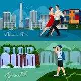 Plana baner för Argentina kulturnatur 2 vektor illustrationer