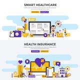 Plana baner för designbegrepp - smart sjukvård och hälsa Insura stock illustrationer