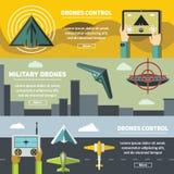 Plana baner med surr, multicopters och fjärrkontroll Arkivbilder