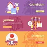 Plana banerbegrepp för katolicism, judendom, shintoism Religionbegrepp för rengöringsdukbaner och tryckmaterial Royaltyfri Bild