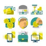 Plana bankrörelsesymboler Fotografering för Bildbyråer