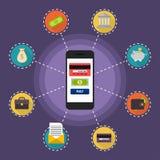 Plana begrepp för designvektorillustration av online-betalningmetoden Royaltyfri Bild