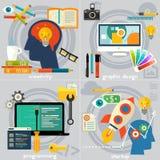 Plana begreppsbaner Kreativitet, programmera, grafisk design och start vektor illustrationer