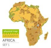Plana beståndsdelar för Afrika fysiska översiktskonstruktör som isoleras på vit