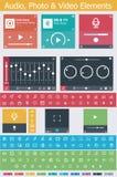 Plana beståndsdelar för foto-, video- och ljudsignalapp UI Royaltyfria Bilder