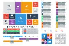 Plana beståndsdelar för rengöringsdukdesign, knappar, symboler Mallar för website Royaltyfria Bilder