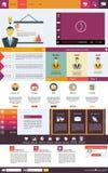 Plana beståndsdelar för rengöringsdukdesign, knappar, symboler. Websitemall. Royaltyfria Bilder