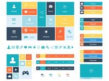 Plana beståndsdelar för rengöringsdukdesign, knappar, symboler Mallar för website Royaltyfria Foton