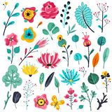 Plana blommor för sommar Blom- trädgårdblomningväxter, blom- beståndsdelar för natur Botanisk vektoruppsättning för vår royaltyfri illustrationer