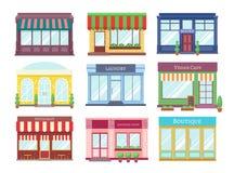 Plana byggnader för lager Tecknade filmen shoppar fasaden med ställer ut hus för restaurang för skyltfönster för boutiquedetaljha stock illustrationer