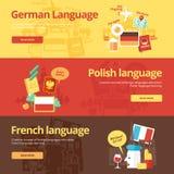 Plana designbaner för tysk, polermedel, fransman vektor illustrationer
