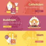 Plana designbanerbegrepp för islam, buddhism, katolicism Religionbegrepp för rengöringsdukbaner Royaltyfri Fotografi