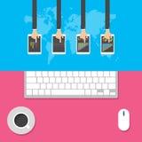 Plana designbegrepp för affär, global marknad, marknadsberäkningen, kontorsarbete, begrepp och symboler för rengöringsdukbaner, v royaltyfri illustrationer