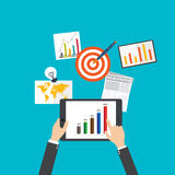 Plana designbegrepp för affär och finans online-businesslnyheterna, vektorillustration Arkivbild
