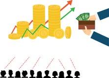 Plana designbegrepp för affärs-, finans-, aktiemarknad- och finansmarknadnyheterna som konsulterar, M-bankrörelse som investerar  Arkivfoton
