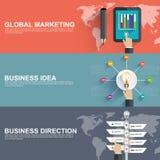 Plana designbegrepp för affärsstrategi och idérik process Royaltyfria Bilder