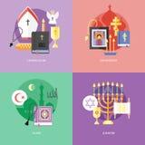 Plana designbegrepp för catholiismen, orthodoxy, islam, judendom Royaltyfri Foto