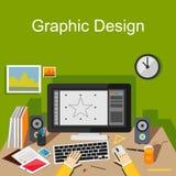 Plana designbegrepp för den grafiska designen, digital teckning, formgivare Royaltyfria Bilder