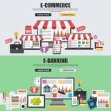 Plana designbegrepp för e-kommers, e-shopping och e-bankrörelsen royaltyfri illustrationer