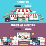 Plana designbegrepp för e-kommers, marknadsförings- och strategianalys vektor illustrationer