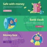 Plana designbegrepp för kassaskåpet, pengar, bankvalv, sparbössa Arkivfoton