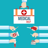 Plana designbegrepp för medicinsk vård Royaltyfri Bild
