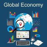 Plana designbegrepp för världsekonomi, världsekonomi royaltyfri illustrationer