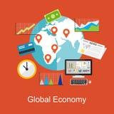 Plana designbegrepp för världsekonomi, världsekonomi, marknadsföra som är analytiskt, affärsbcakground vektor illustrationer