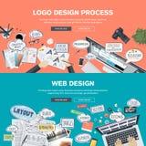 Plana designbegrepp för logodesign- och för rengöringsdukdesign utveckling Arkivbild