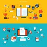 Plana designillustrationbegrepp av utbildning och direktanslutet att lära Arkivbilder