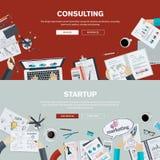 Plana designillustrationbegrepp för affärsatt konsultera och start stock illustrationer