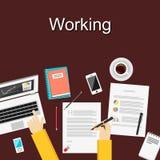 Plana designillustrationbegrepp för att arbeta, studerar hårt, ledning, karriären, idékläckning, finans, arbete, analys Royaltyfria Foton