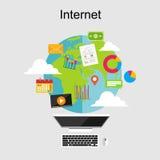 Plana designillustrationbegrepp för internetinnehåll Royaltyfria Foton