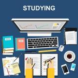 Plana designillustrationbegrepp för att studera som arbetar Arkivfoton