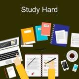 Plana designillustrationbegrepp för studie hårt som arbetar, forskning, analys, ledning, karriär, idékläckning, finans som arbeta Arkivbilder